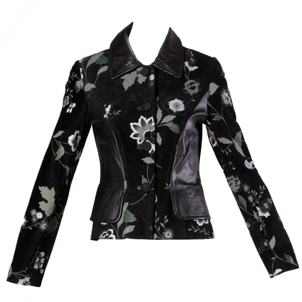 Michael Hoban for North Beach Leather Vintage Black Floral Jacket For Sale