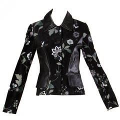 Michael Hoban for North Beach Leather Vintage Black Floral Jacket