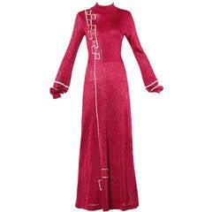 Wenjilli Vintage 1970s Metallic Knit Maxi Dress with Art Deco Embroidery