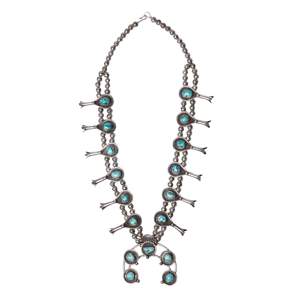 94534d66f2b1 Massive Vintage Old Pawn Sterling Silver + Turquoise Squash Blossom Necklace  For Sale at 1stdibs