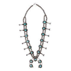 Massive Vintage Old Pawn Sterling Silver + Turquoise Squash Blossom Necklace