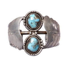 Extraordinary Navajo Vintage Old Pawn Sterling + Turquoise Cuff Bracelet