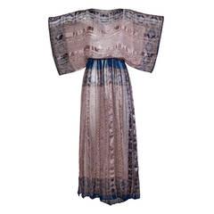 100% Silk Vintage 1970s Metallic Indian Print Maxi Dress with Kimono Sleeves