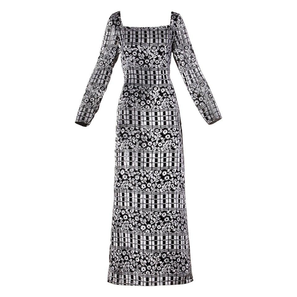 1970s Vintage Sheer Floral Burnout Velvet Maxi Dress