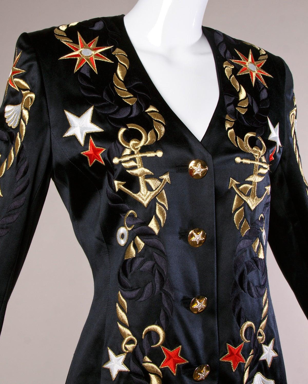 Escada vintage s nautical embroidered blazer jacket at