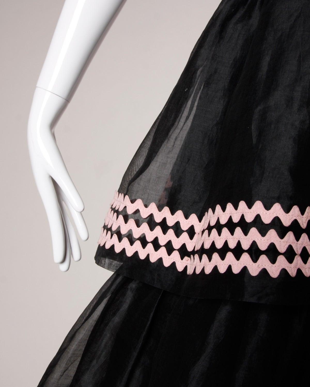 Lanvin Vintage Black Silk Tiered Gown 7