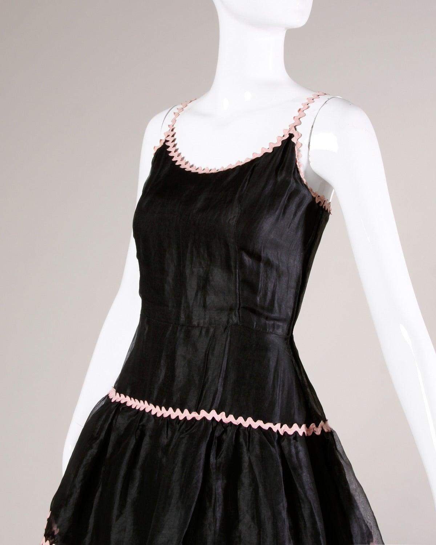 Lanvin Vintage Black Silk Tiered Gown 5