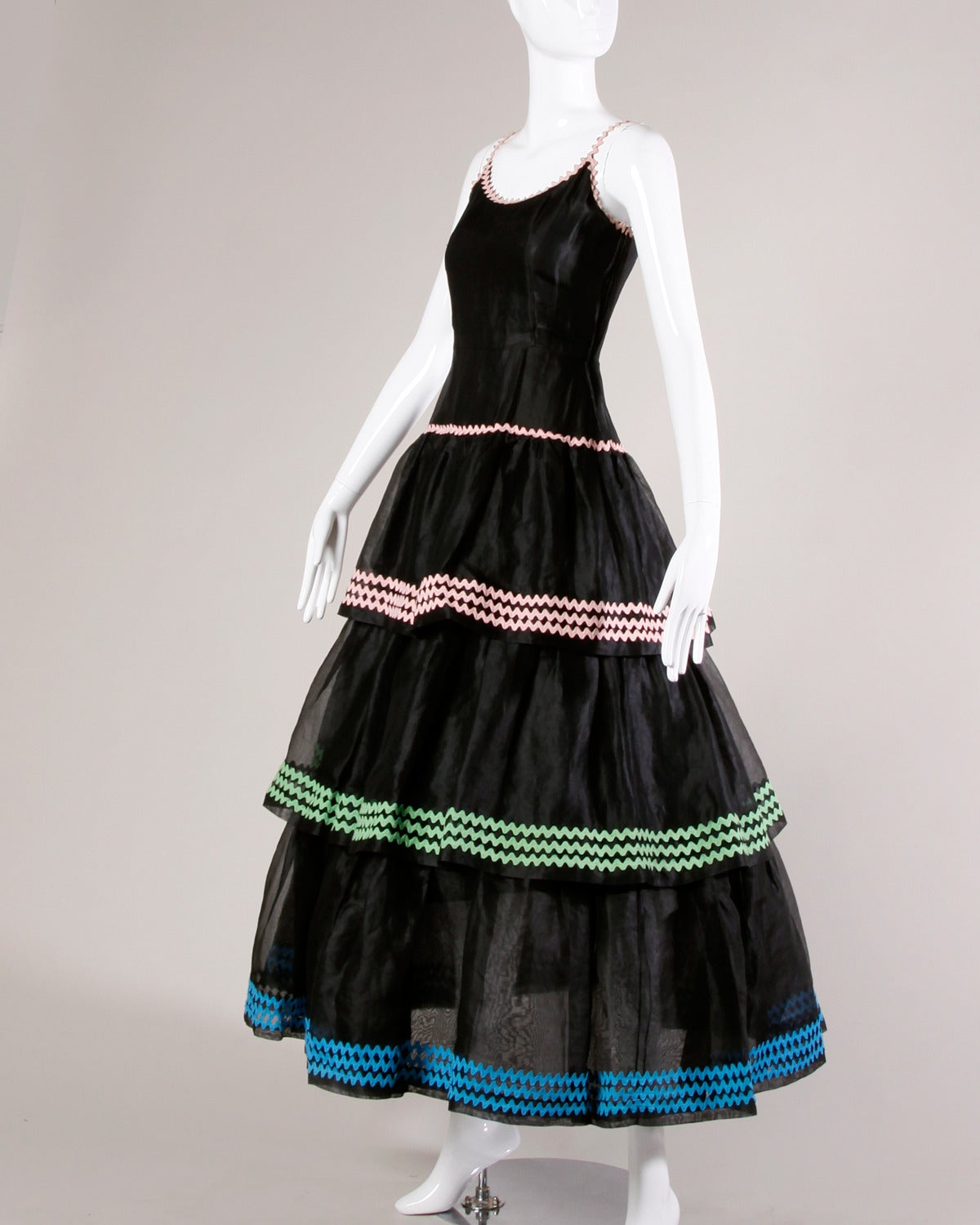 Lanvin Vintage Black Silk Tiered Gown 2