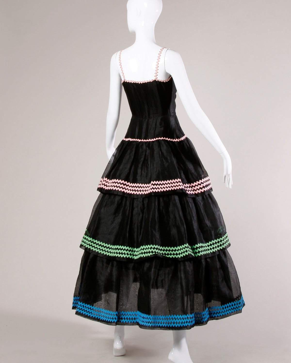 Lanvin Vintage Black Silk Tiered Gown 4