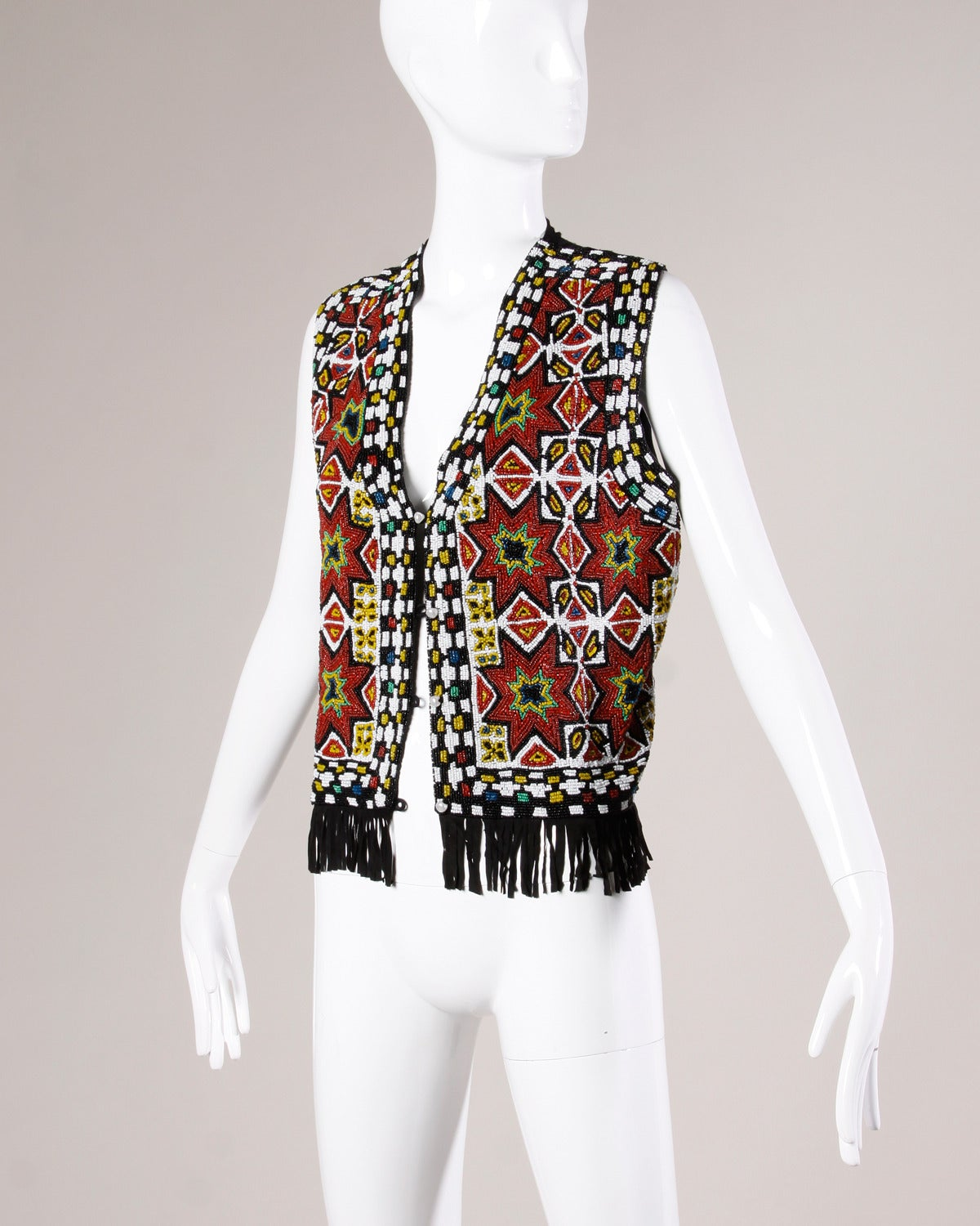 Black Hand-Made Heavy Vintage Native American Seed Beaded Vest For Sale