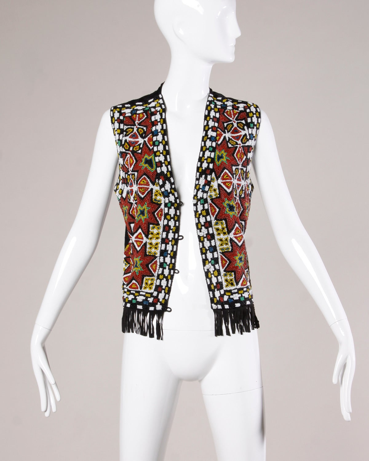 Hand-Made Heavy Vintage Native American Seed Beaded Vest For Sale 3