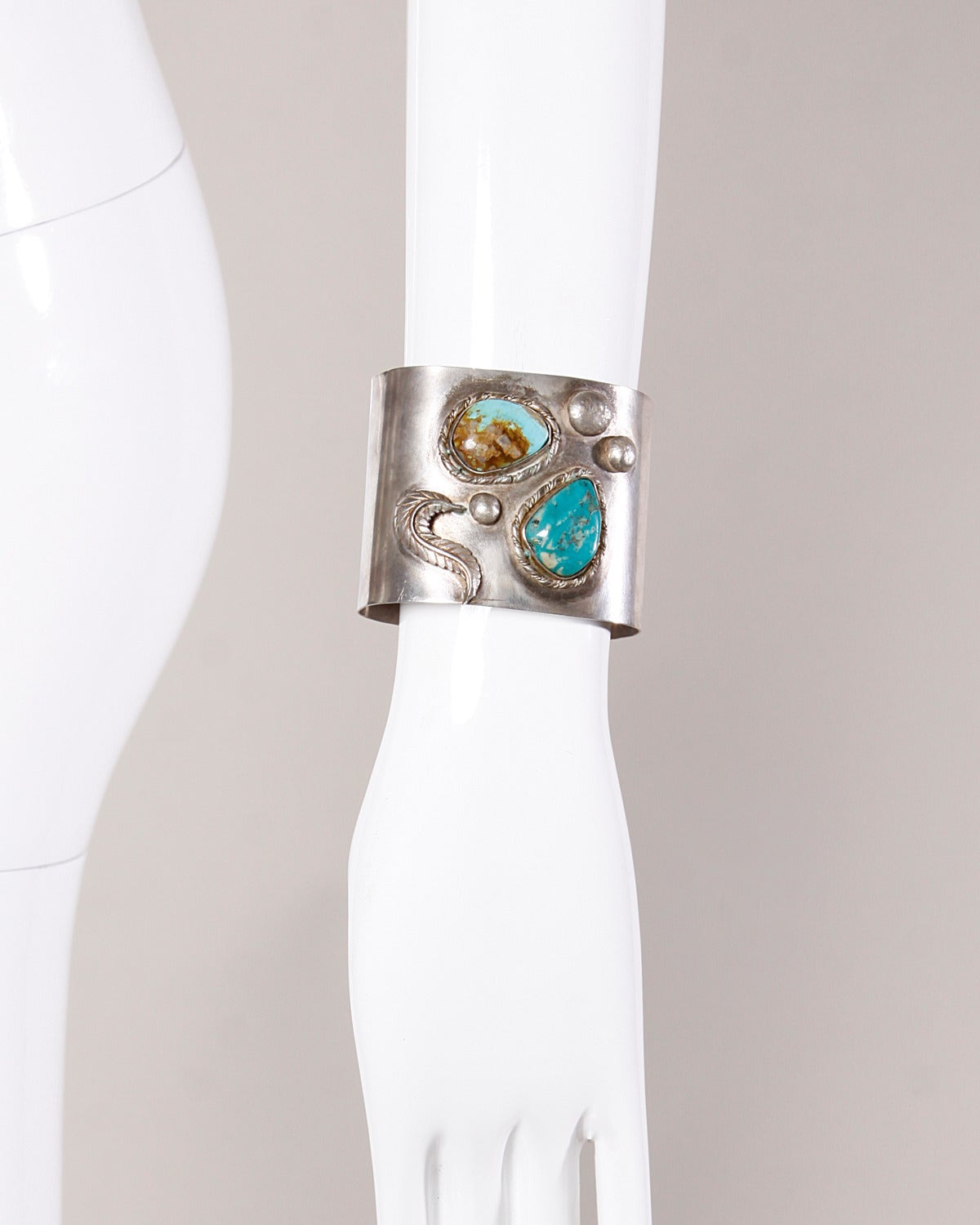 "Gorgeous hand-made vintage sterling silver cuff with two large turquoise stones. This is a Native American artisan piece and was engraved, ""Katie, Good luck! Fran '89"" at a later point. The engraving can be easily removed my your local jeweler if"