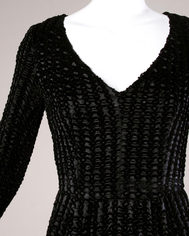 Givenchy 1970s Vintage Black Textured Black Silk + Velvet Gown 2