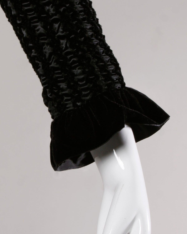 Givenchy 1970s Vintage Black Textured Black Silk + Velvet Gown 5