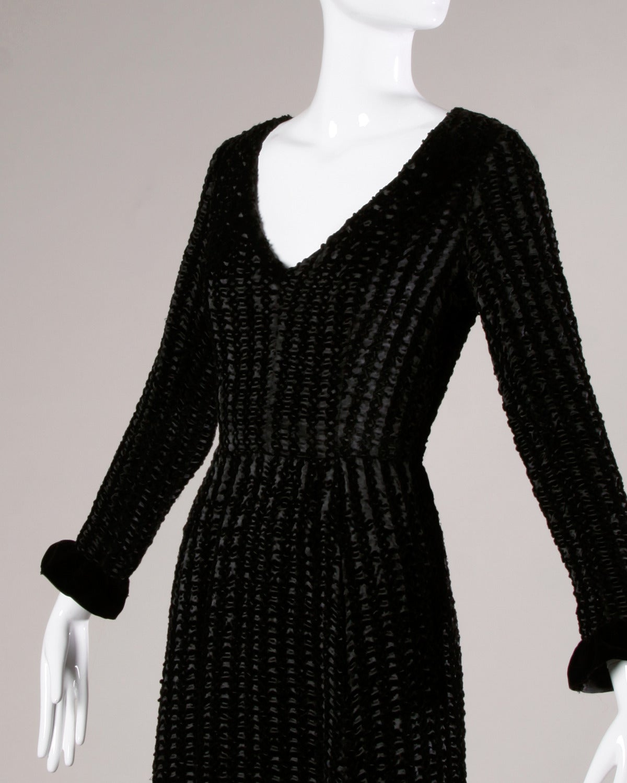 Givenchy 1970s Vintage Black Textured Black Silk + Velvet Gown 4