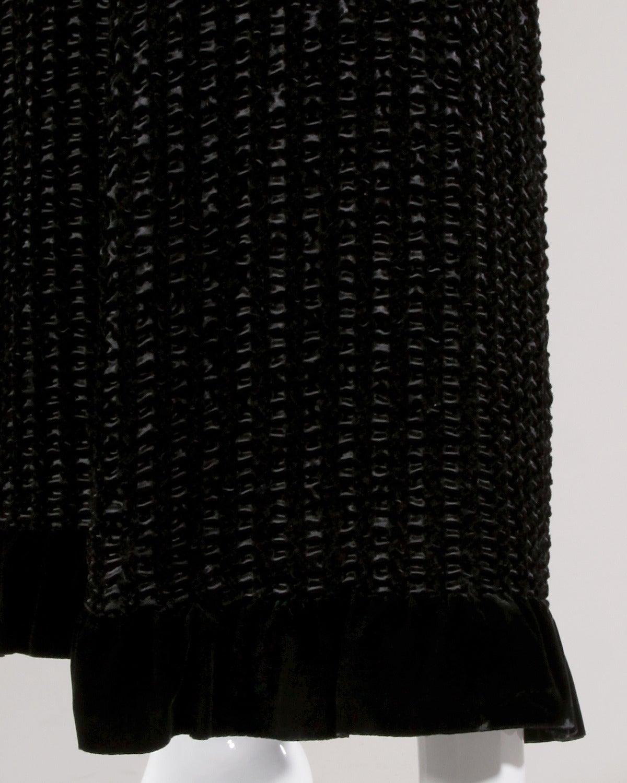 Givenchy 1970s Vintage Black Textured Black Silk + Velvet Gown 7