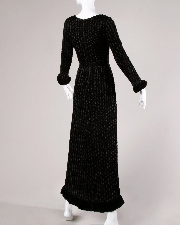 Givenchy 1970s Vintage Black Textured Black Silk + Velvet Gown 6