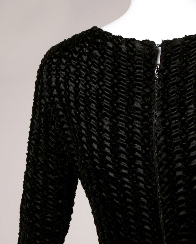 Givenchy 1970s Vintage Black Textured Black Silk + Velvet Gown 8