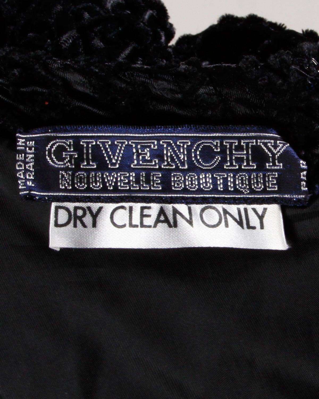 Givenchy 1970s Vintage Black Textured Black Silk + Velvet Gown 9