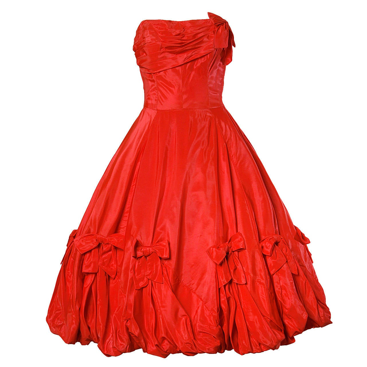 1950s Vintage Red Taffeta Full Sweep Party Dress with Bubble Hem 1