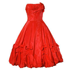 1950s Vintage Red Taffeta Full Sweep Party Dress with Bubble Hem