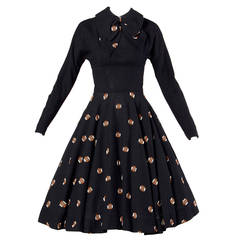 Mam'selle by Betty Carol Vintage 1950s Black Wool Full Sweep Dress