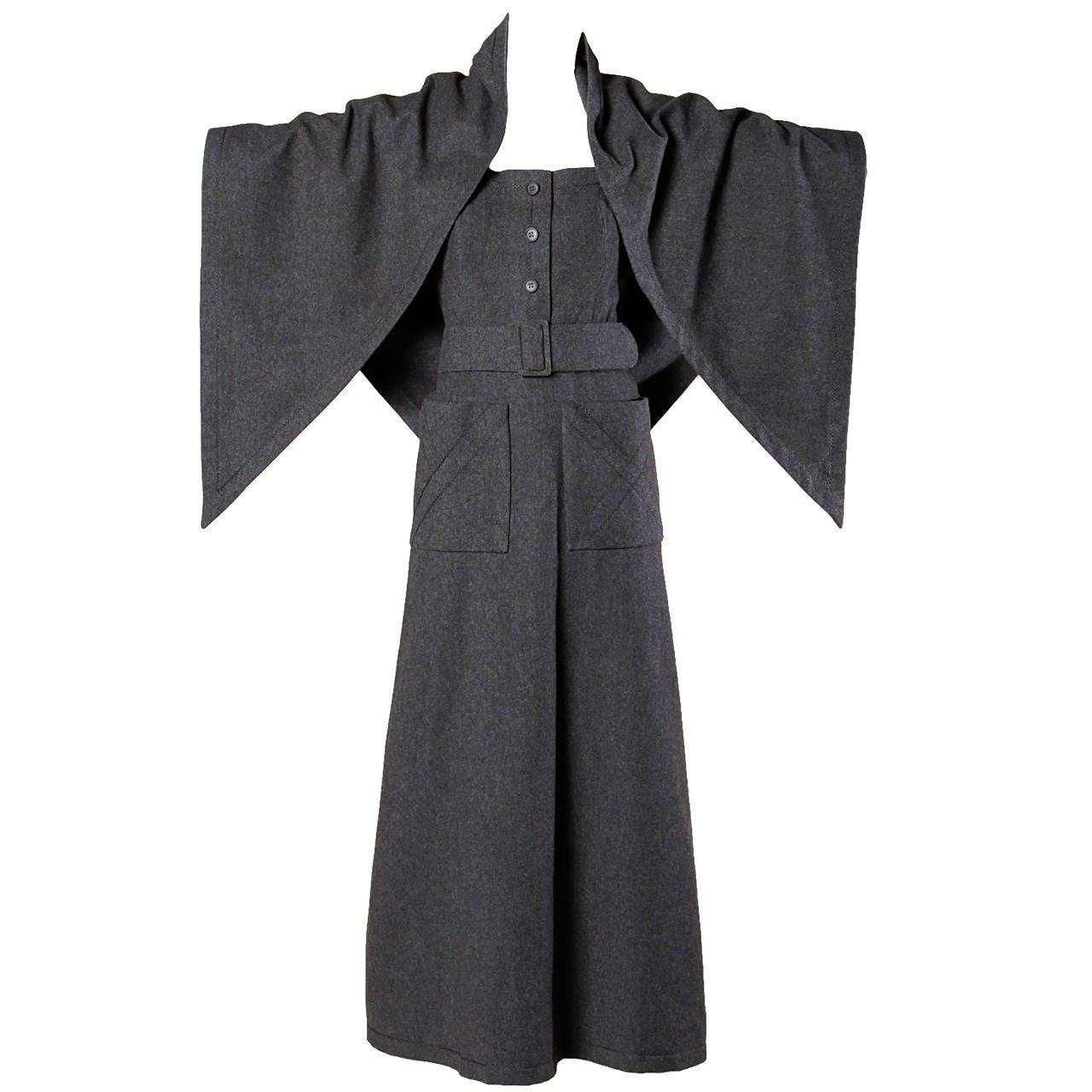 Jean Patou Vintage 1960s Wool 3-Piece Belt, Wrap & Dress Ensemble 1