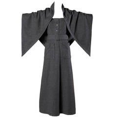 Jean Patou Vintage 1960s Wool 3-Piece Belt, Wrap & Dress Ensemble