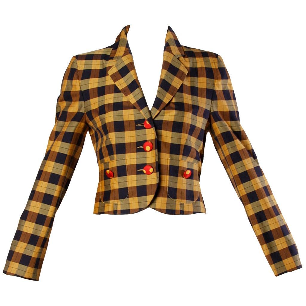Moschino Vintage 1990s Plaid + Polka Dot Blazer Jacket For Sale