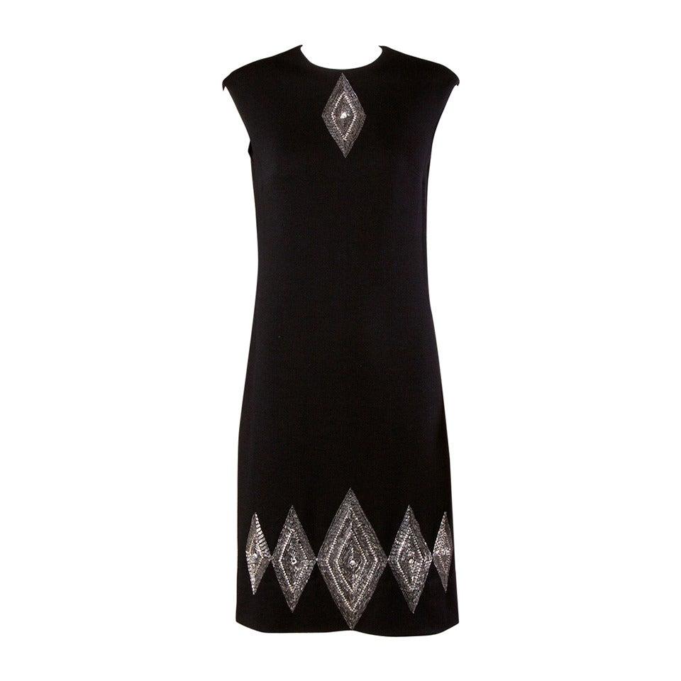 Mr. Blackwell Vintage 1960s Black Wool Beaded + Rhinestone Shift Dress