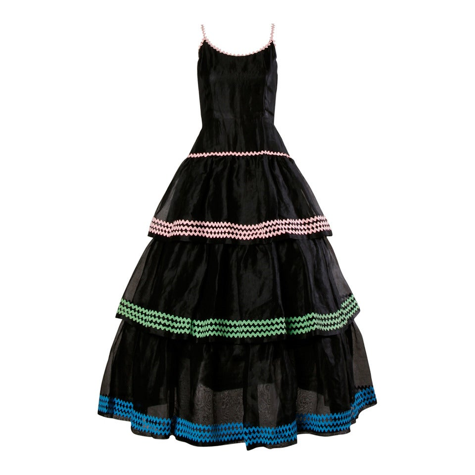 Lanvin Vintage Black Silk Tiered Gown 1