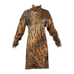 Krizia Iconic Vintage Animal Print Oversized Knit Sweater Dress