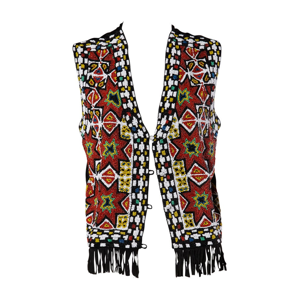 Hand-Made Heavy Vintage Native American Seed Beaded Vest