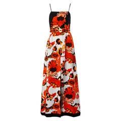 Jacques Reval 1970s Vintage Couture Floral Maxi Dress + Belt