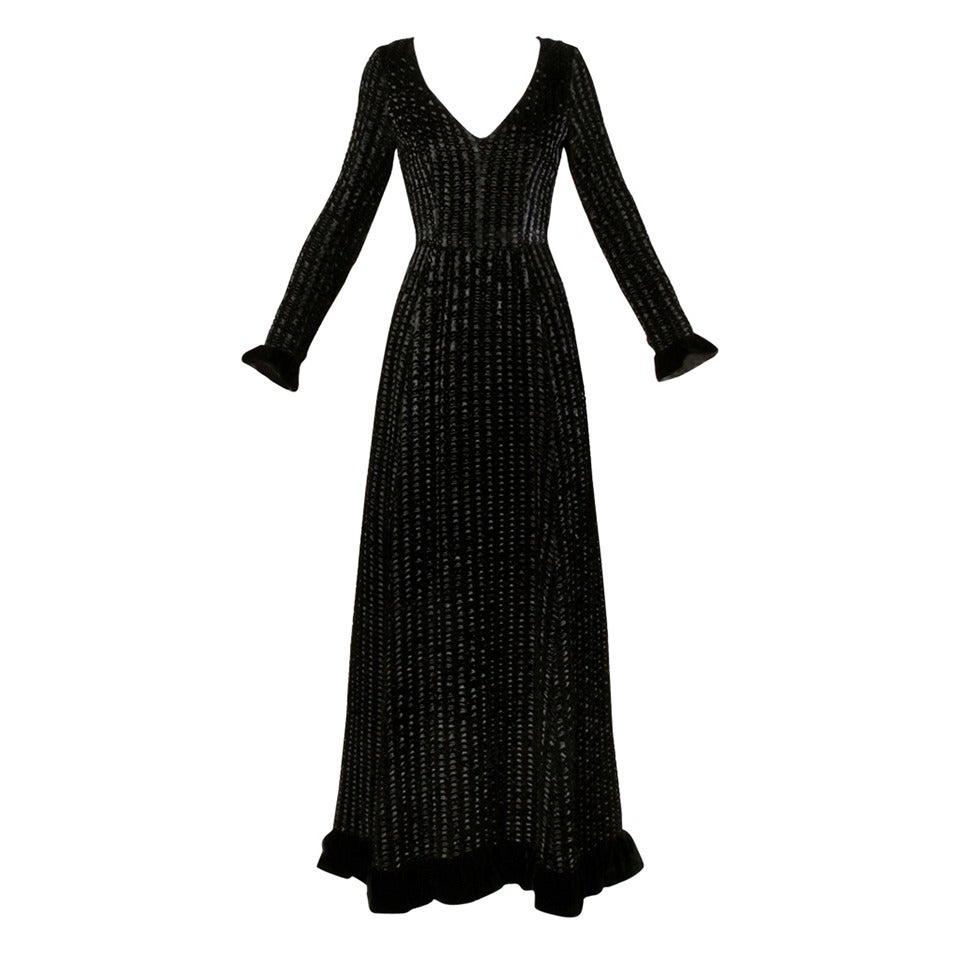 Givenchy 1970s Vintage Black Textured Black Silk + Velvet Gown 1