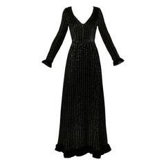 Givenchy 1970s Vintage Black Textured Black Silk + Velvet Gown
