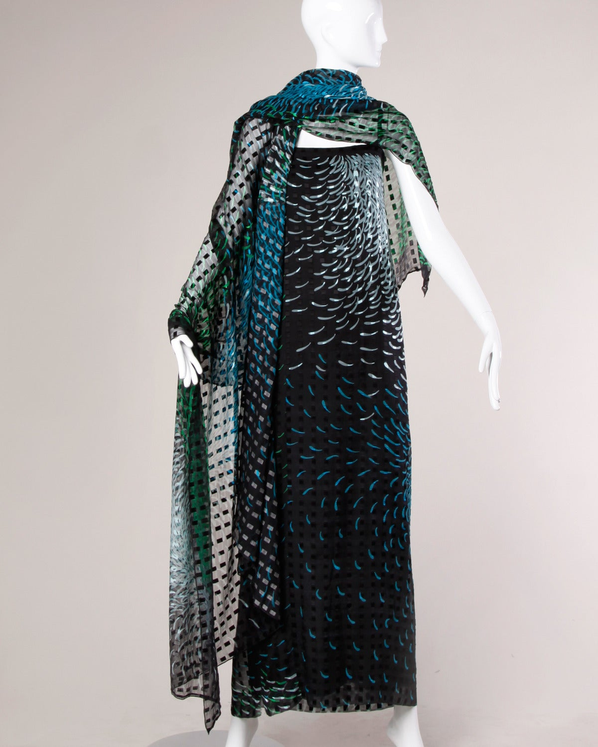 Pauline Trigere Vintage 1970s Silk Chiffon Print Maxi Dress + Wrap Ensemble 5