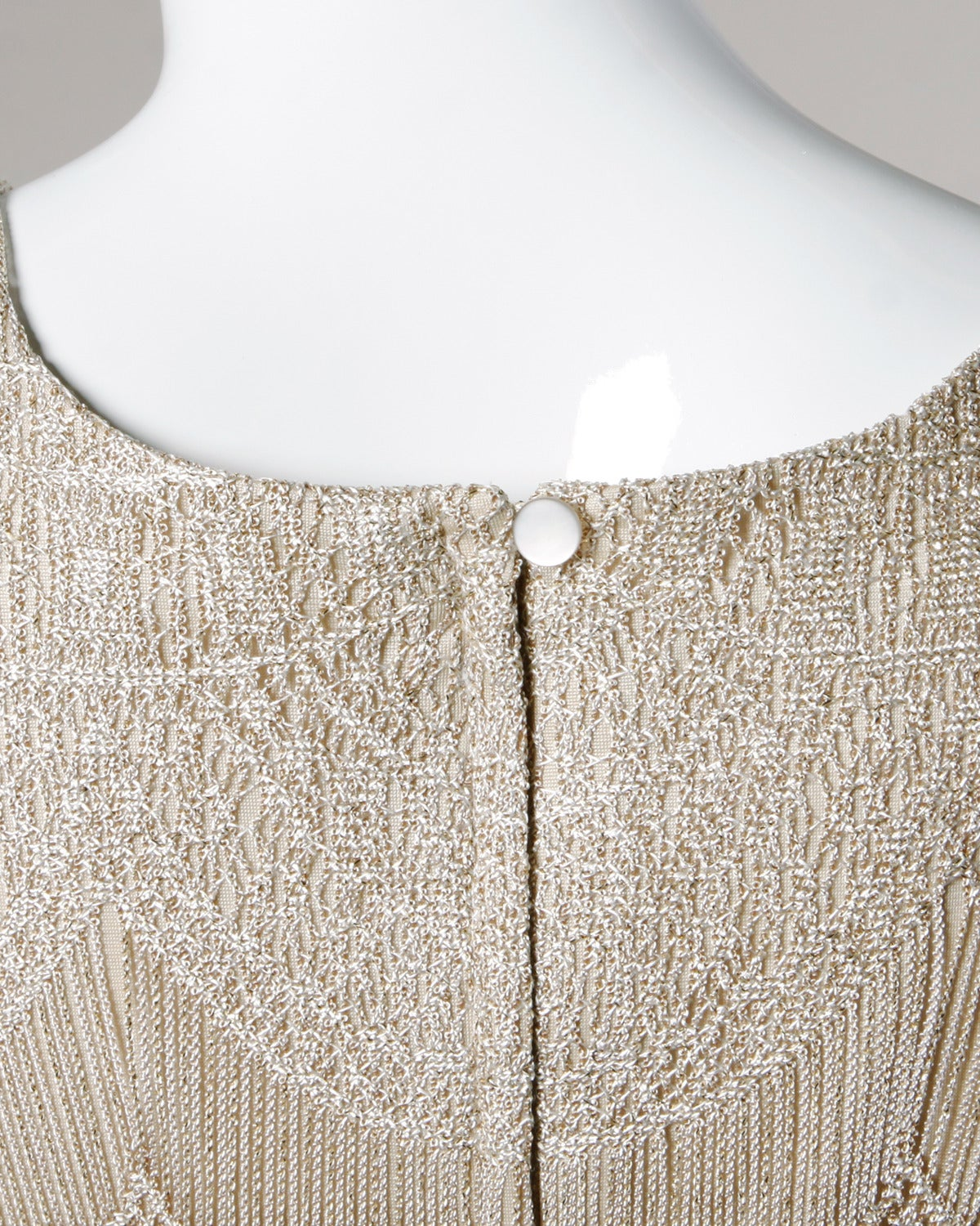 Lillie Rubin Vintage 1990s Metallic Scalloped Lace Flapper Dress 7