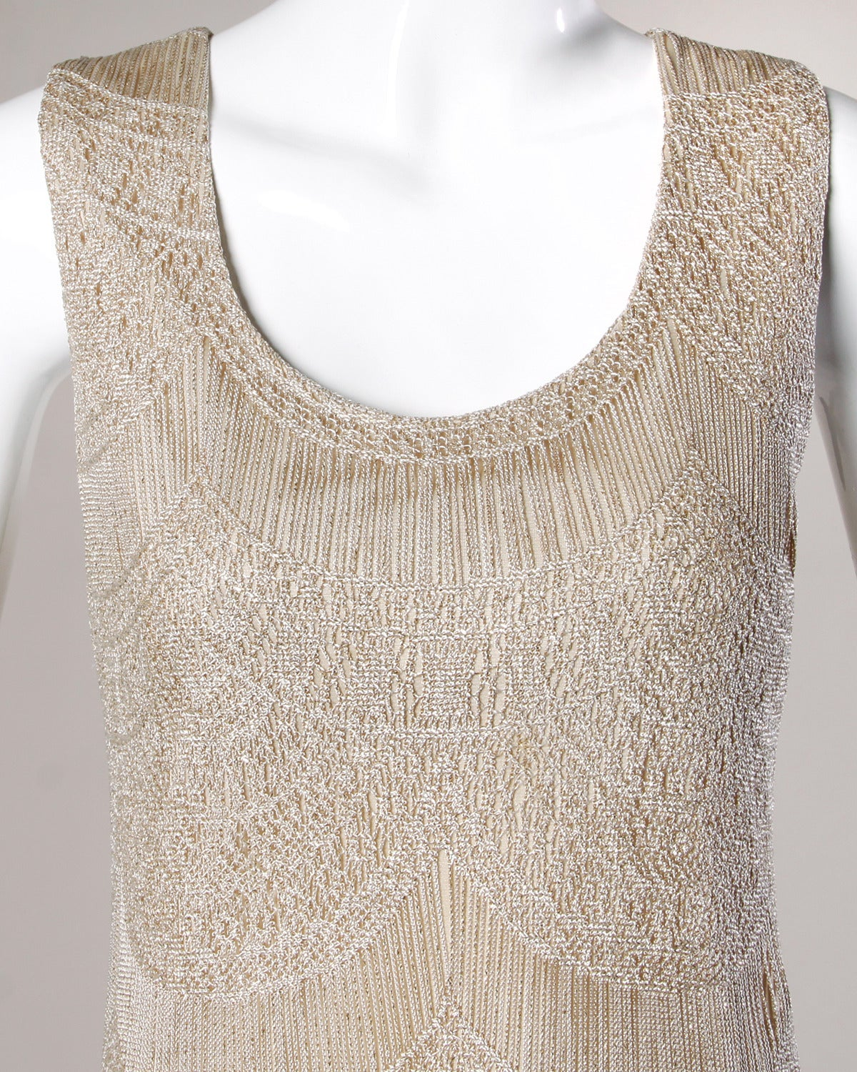 Lillie Rubin Vintage 1990s Metallic Scalloped Lace Flapper Dress 5
