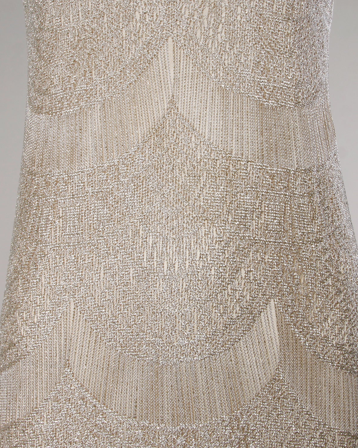 Lillie Rubin Vintage 1990s Metallic Scalloped Lace Flapper Dress 3