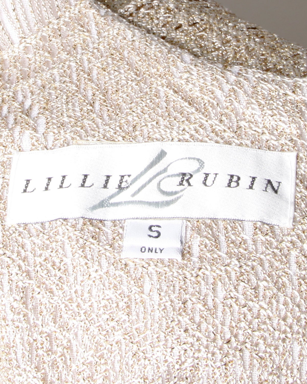 Lillie Rubin Vintage 1990s Metallic Scalloped Lace Flapper Dress 9