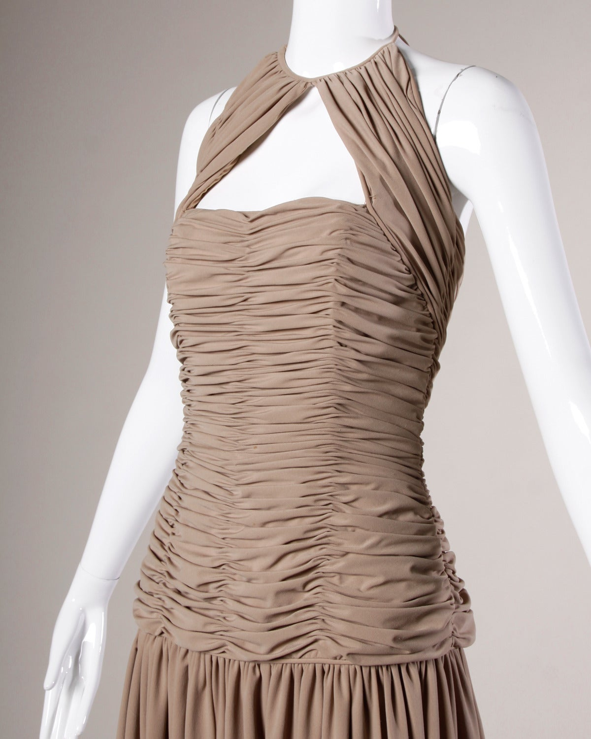 Brown Victor Costa Deadstock Vintage Nude Halter Dress with Original Tags For Sale