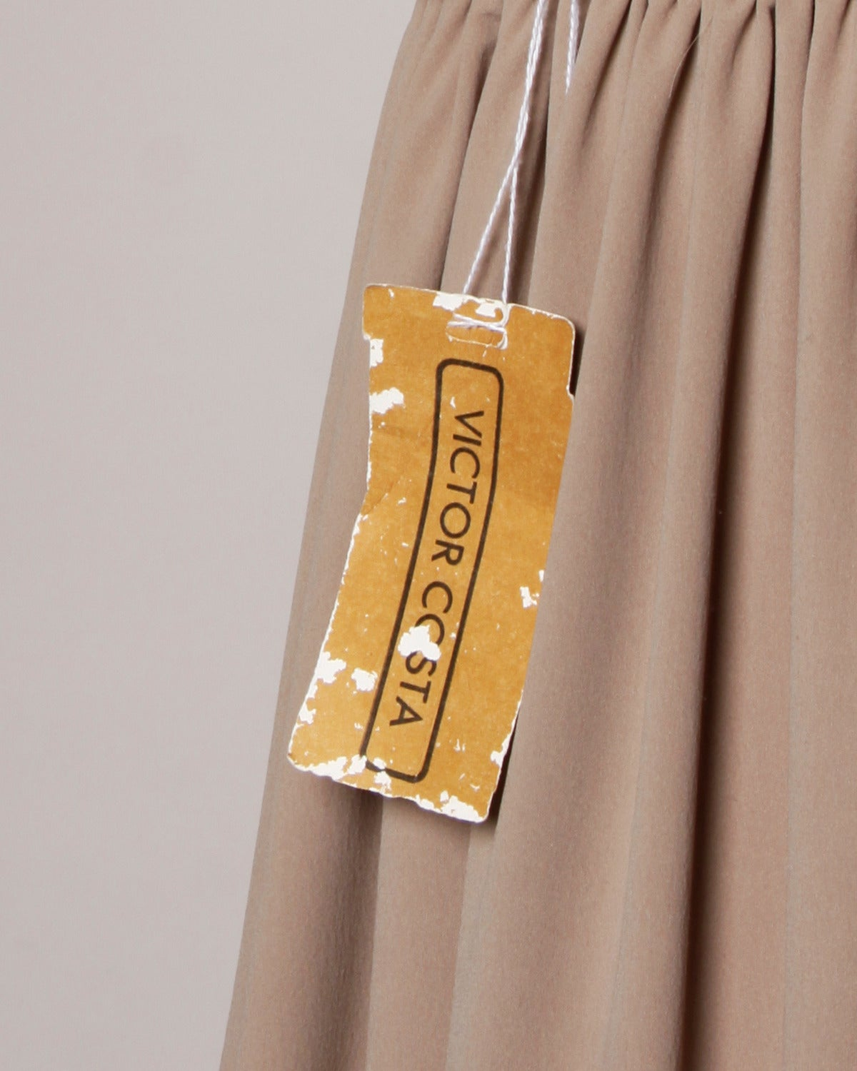 Victor Costa Deadstock Vintage Nude Halter Dress with Original Tags For Sale 2