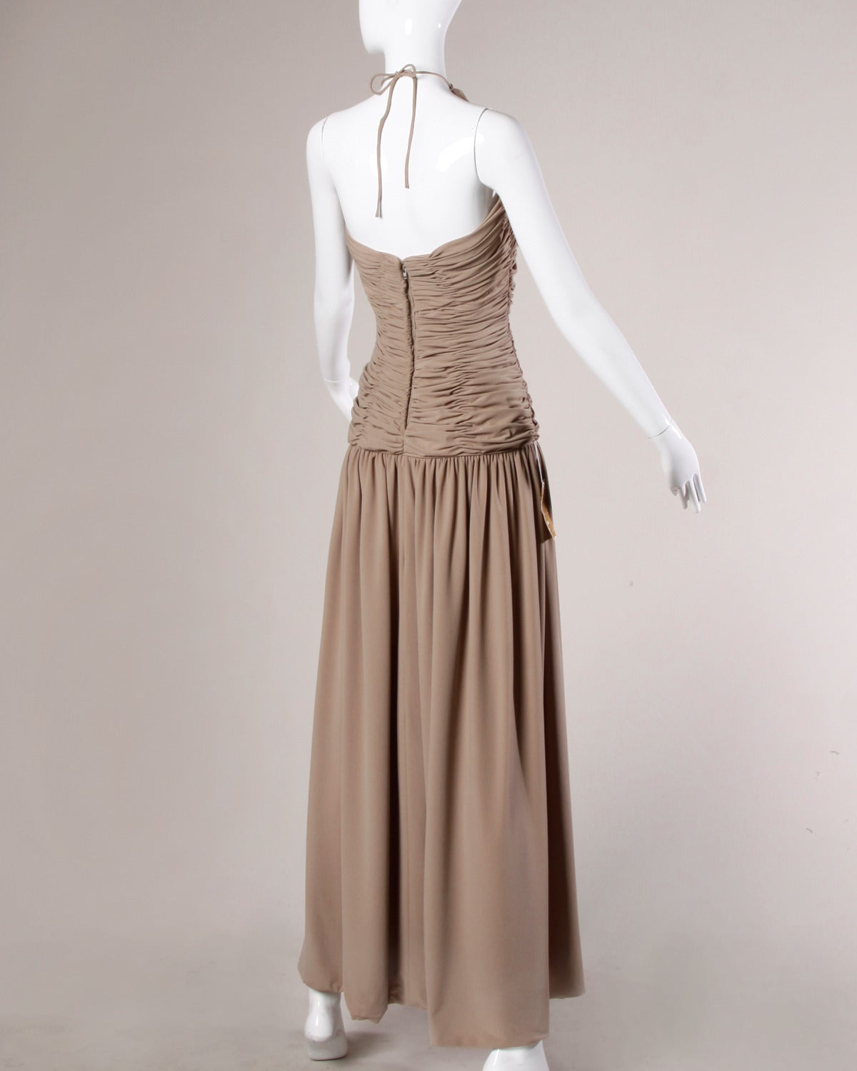 Victor Costa Deadstock Vintage Nude Halter Dress with Original Tags In New Condition For Sale In Sparks, NV