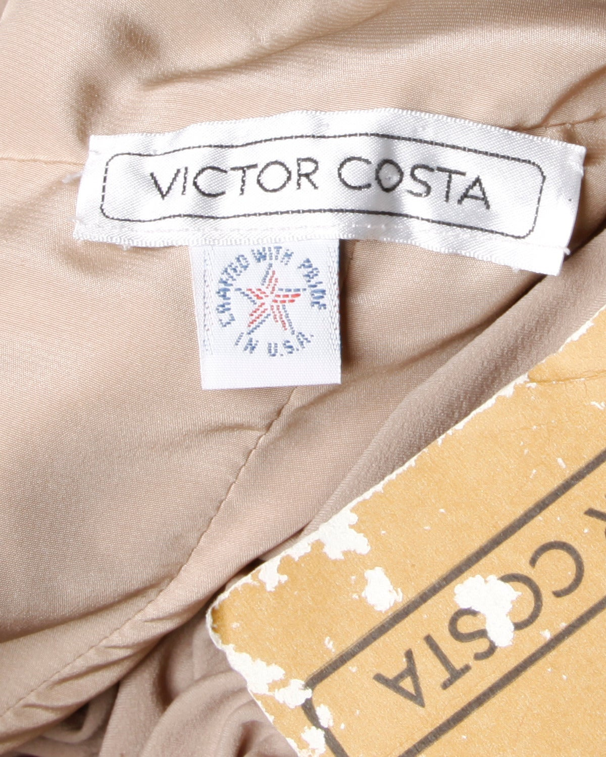 Victor Costa Deadstock Vintage Nude Halter Dress with Original Tags For Sale 3