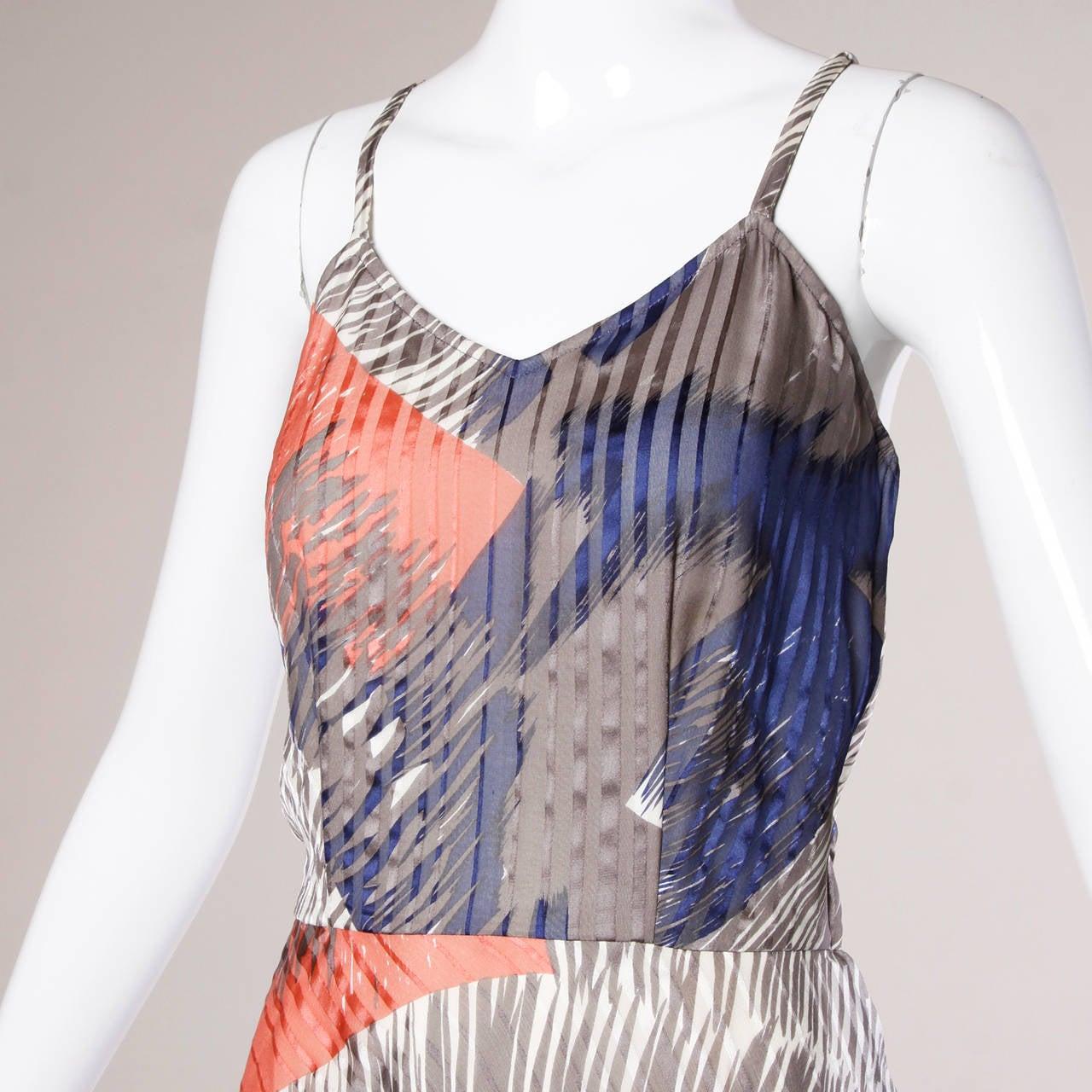Vintage Sheer Printed Silk Chiffon Dress 2