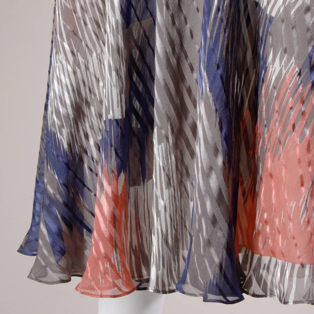 Vintage Sheer Printed Silk Chiffon Dress 6