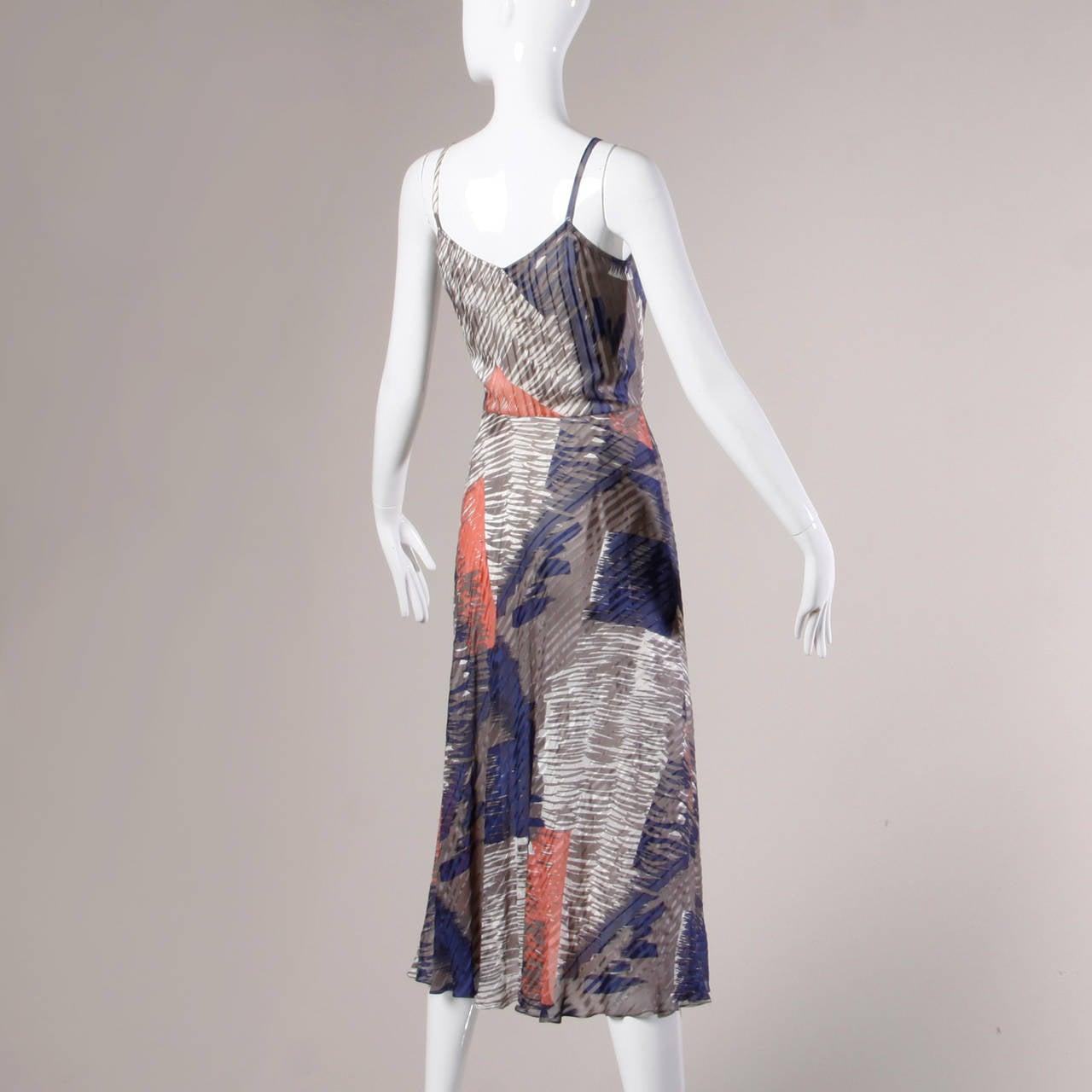 Gray Vintage Sheer Printed Silk Chiffon Dress For Sale