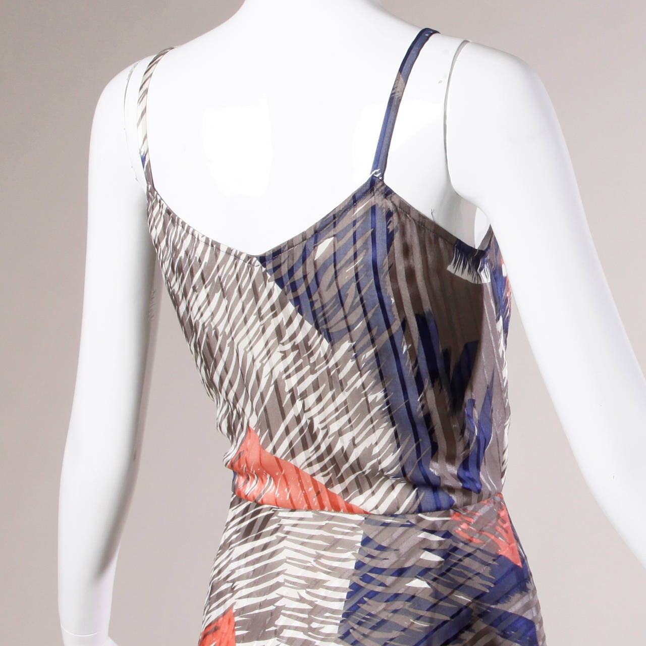 Vintage Sheer Printed Silk Chiffon Dress In Excellent Condition For Sale In Sparks, NV