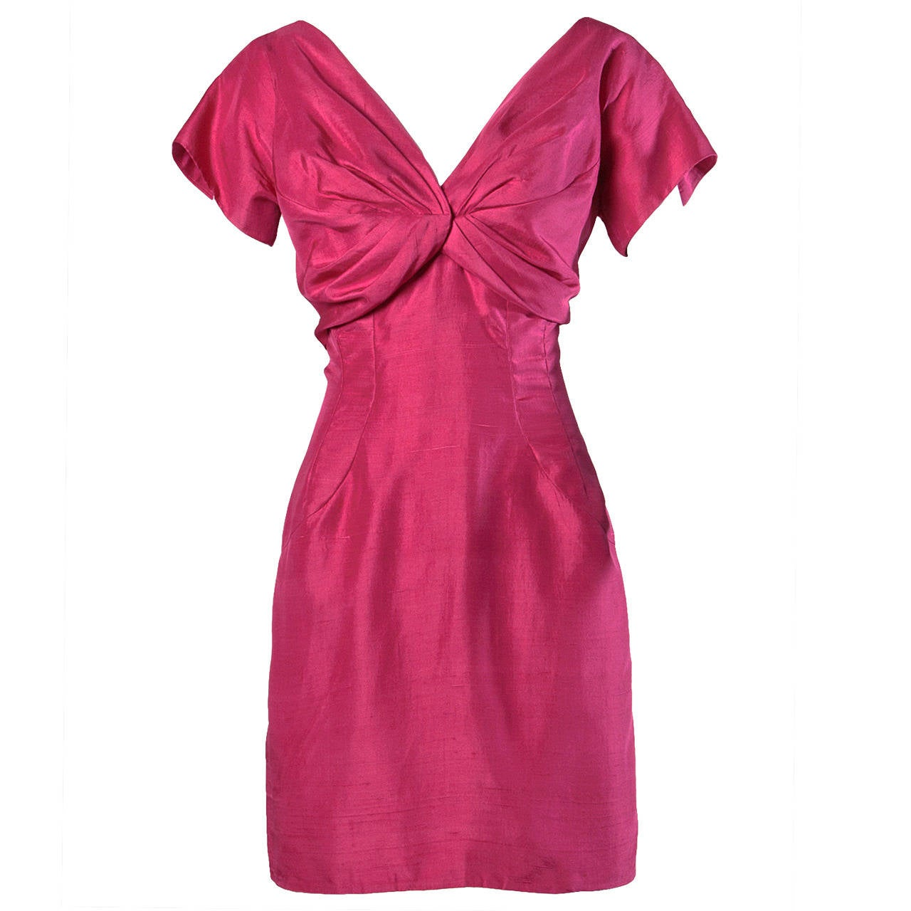 Sydney North Vintage 1960s Fuchsia Silk Cocktail Dress For Sale